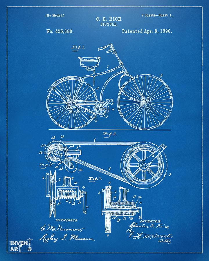 1890 bicycle patent artwork blueprint digital art by nikki marie smith velocipede digital art 1890 bicycle patent artwork blueprint by nikki marie smith malvernweather Images