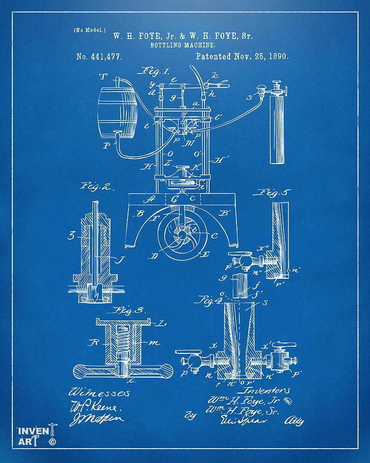 Bottling Machine Digital Art - 1890 Bottling Machine Patent Artwork Blueprint by Nikki Marie Smith