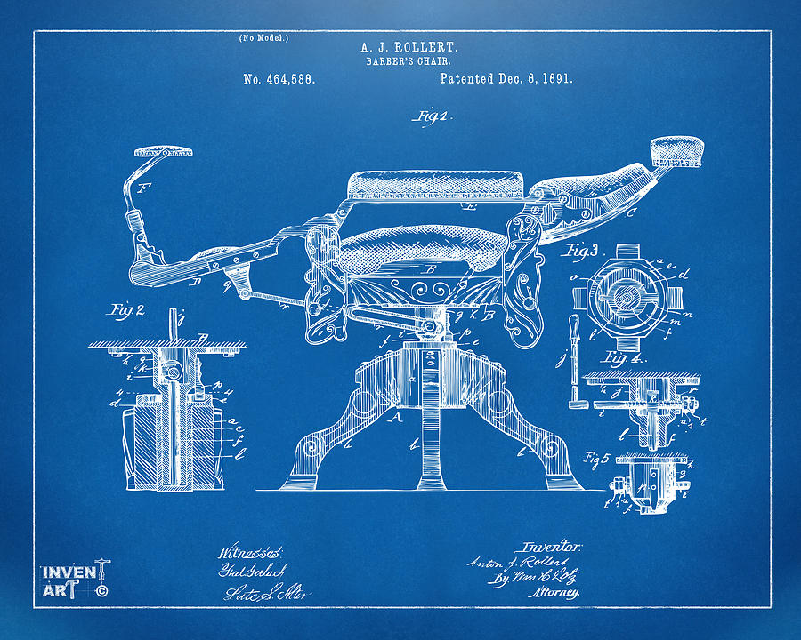 1891 barbers chair patent artwork blueprint digital art by nikki barber chair digital art 1891 barbers chair patent artwork blueprint by nikki marie smith malvernweather Image collections