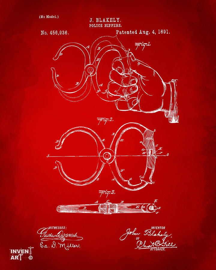 Police Digital Art - 1891 Police Nippers Handcuffs Patent Artwork - Red by Nikki Marie Smith