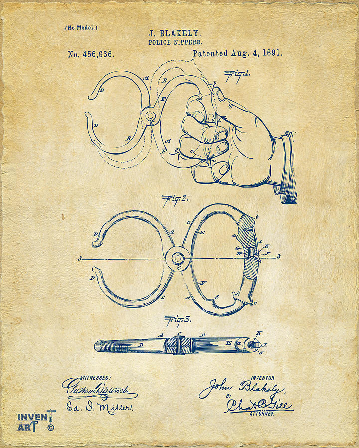 Police Drawing - 1891 Police Nippers Handcuffs Patent Artwork - Vintage by Nikki Marie Smith
