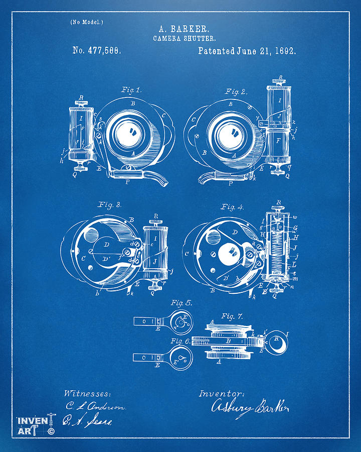 1892 barker camera shutter patent blueprint digital art by nikki camera digital art 1892 barker camera shutter patent blueprint by nikki marie smith malvernweather Choice Image