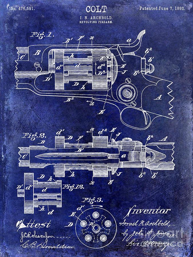 Colt Revolver Photograph - 1892 Colt Patent Drawing by Jon Neidert