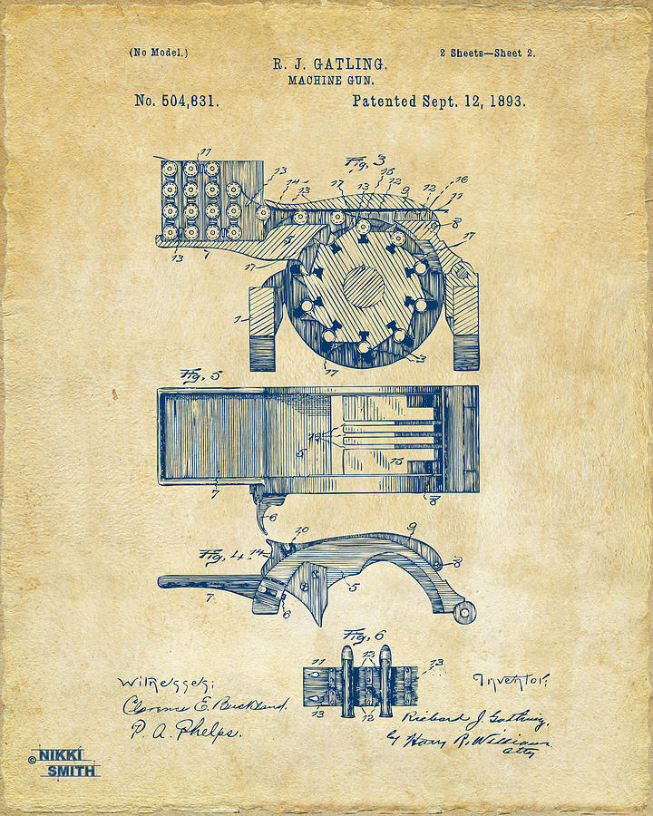Gatling Gun Digital Art - 1893 Gatling Machine Gun Feed Patent Artwork - Vintage by Nikki Marie Smith