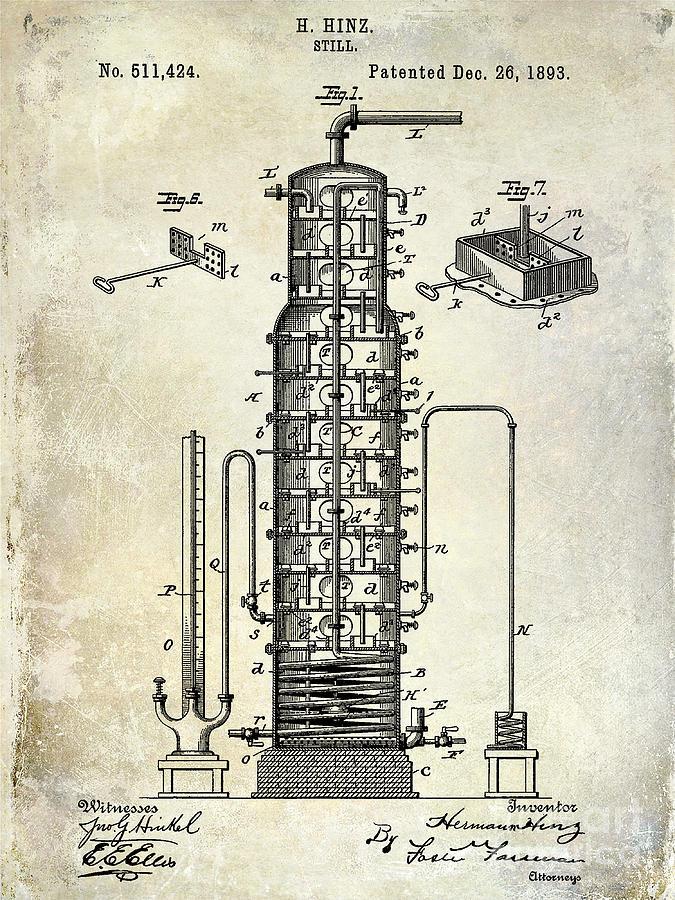 1893 Drawing - 1893 Still Patent Drawing by Jon Neidert