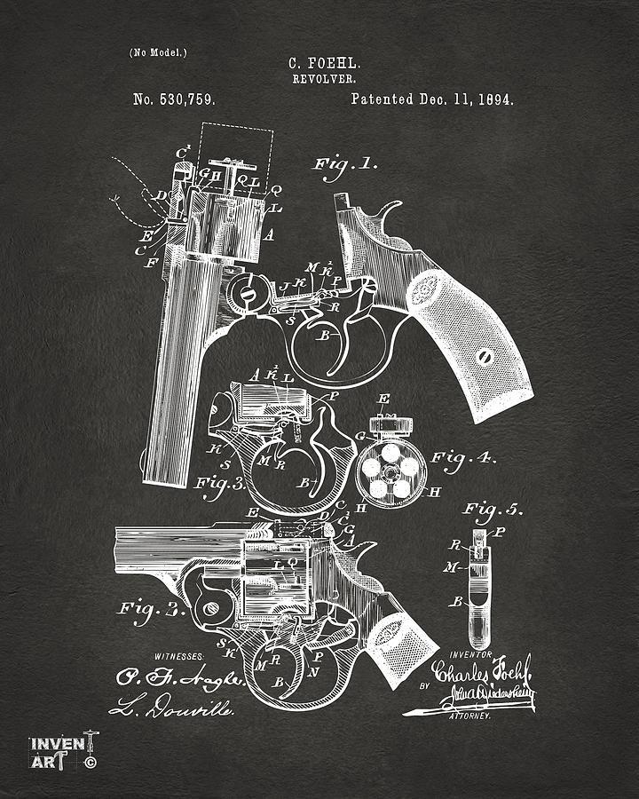 Revolver Digital Art - 1894 Foehl Revolver Patent Artwork - Gray by Nikki Marie Smith
