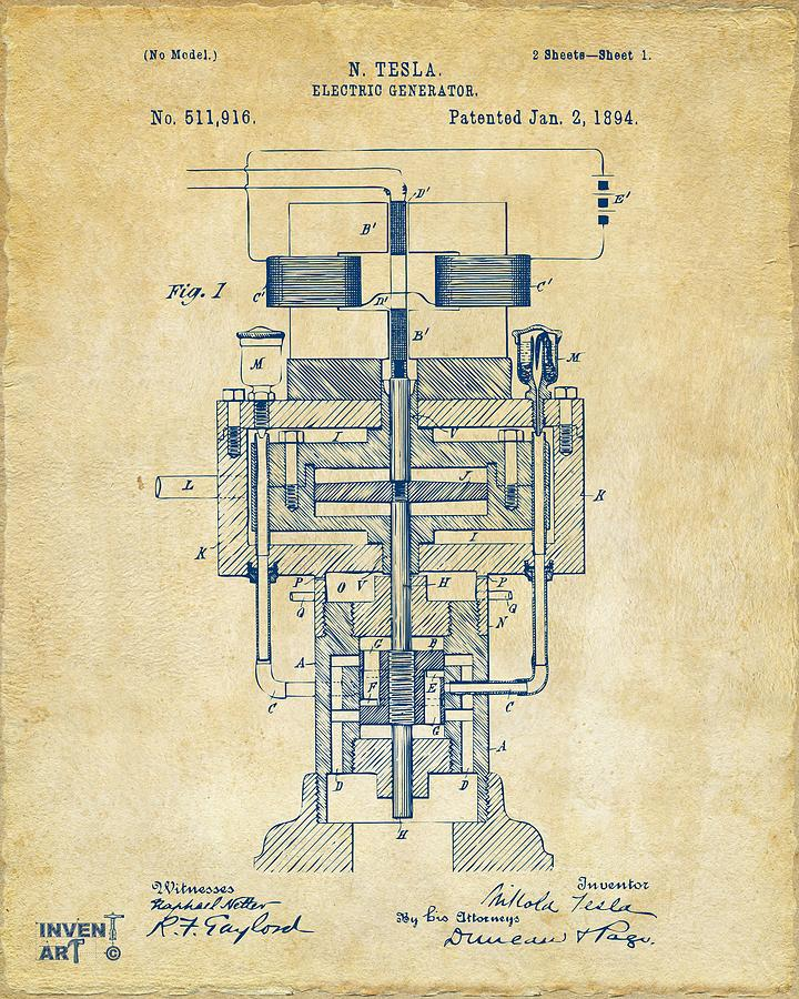 1894 Tesla Electric Generator Patent Vintage Digital Art by Nikki ...