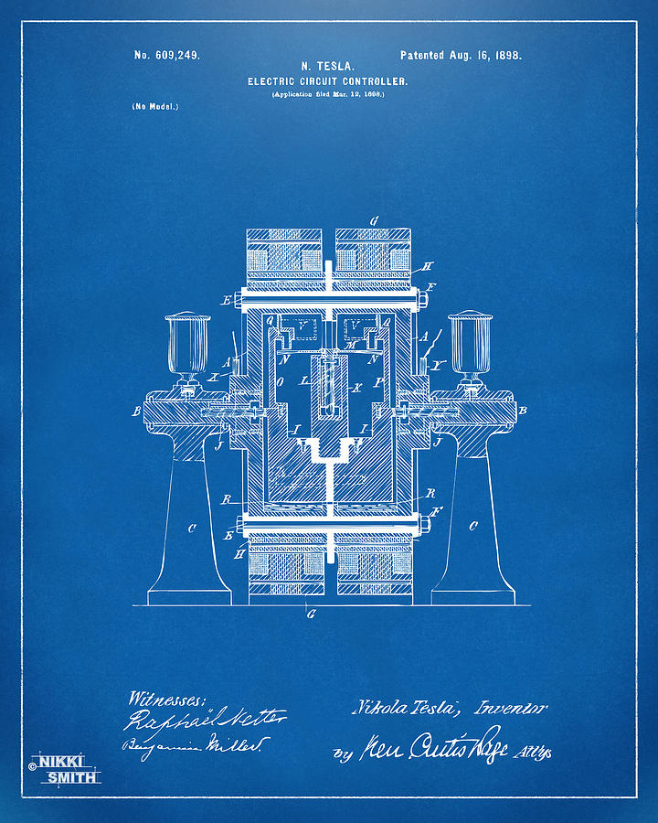 1898 tesla electric circuit patent artwork blueprint digital art tesla digital art 1898 tesla electric circuit patent artwork blueprint by nikki marie smith malvernweather Image collections