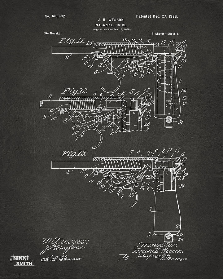 Wesson Pistol Digital Art - 1898 Wesson Magazine Pistol Patent Artwork 2 - Gray by Nikki Marie Smith