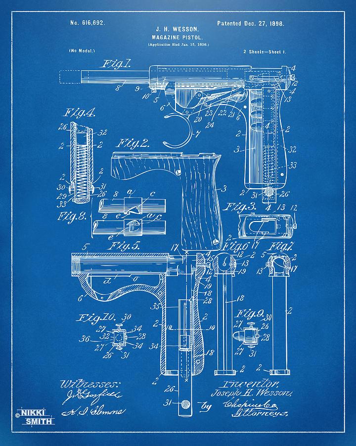1898 wesson magazine pistol patent artwork blueprint drawing by wesson pistol drawing 1898 wesson magazine pistol patent artwork blueprint by nikki marie smith malvernweather Gallery
