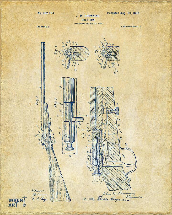 1899 Browning Bolt Gun Patent Vintage Digital Art by Nikki Marie Smith