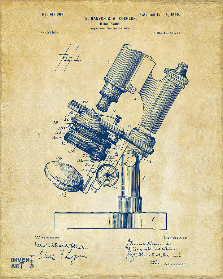 Microscope Digital Art - 1899 Microscope Patent Vintage by Nikki Marie Smith