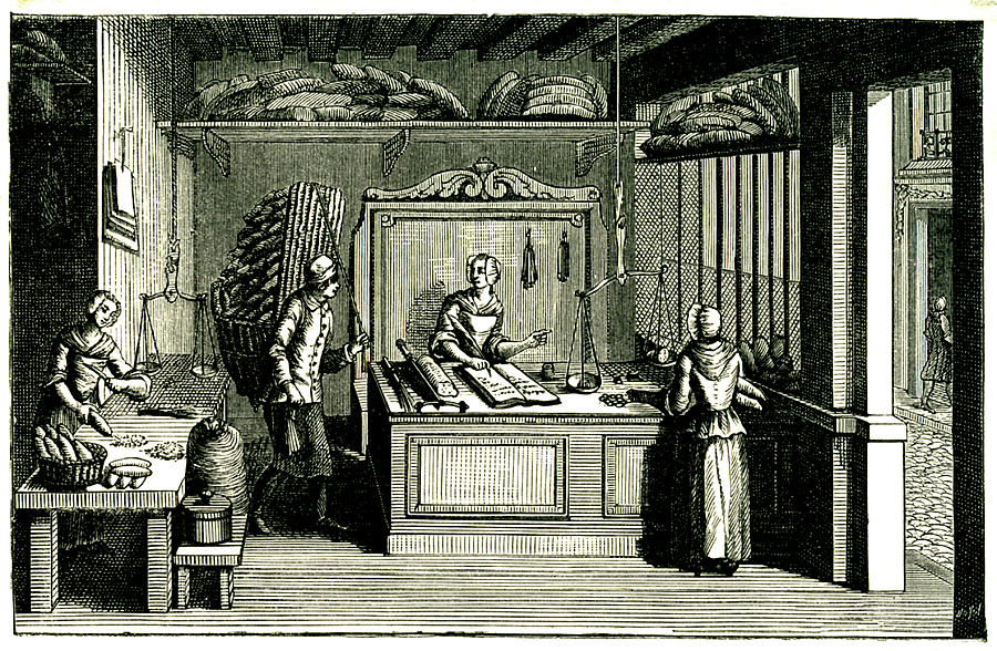 Monochrome Photograph - 18th Century Bakery by Collection Abecasis/science Photo Library