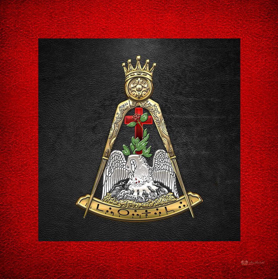 Scottish Rite Digital Art - 18th Degree Mason - Knight Rose Croix Masonic Jewel  by Serge Averbukh