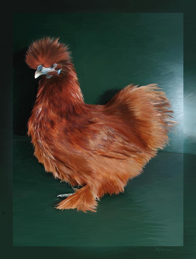 Chicken Digital Art - 19. Red Silkie Hen by Sigrid Van Dort