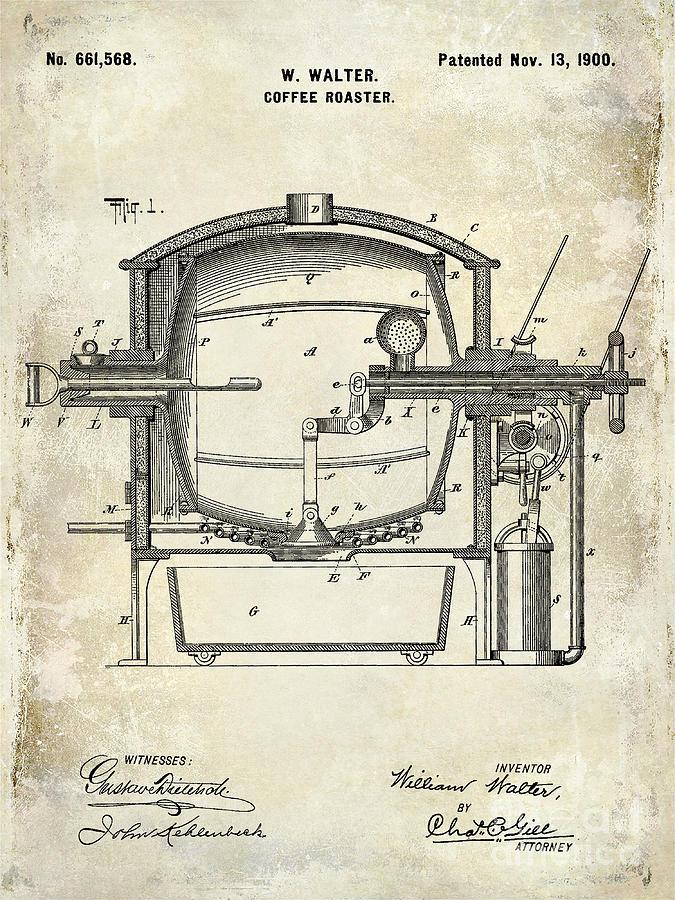 Coffee Photograph - 1900 Coffee Roaster Patent Drawing  by Jon Neidert