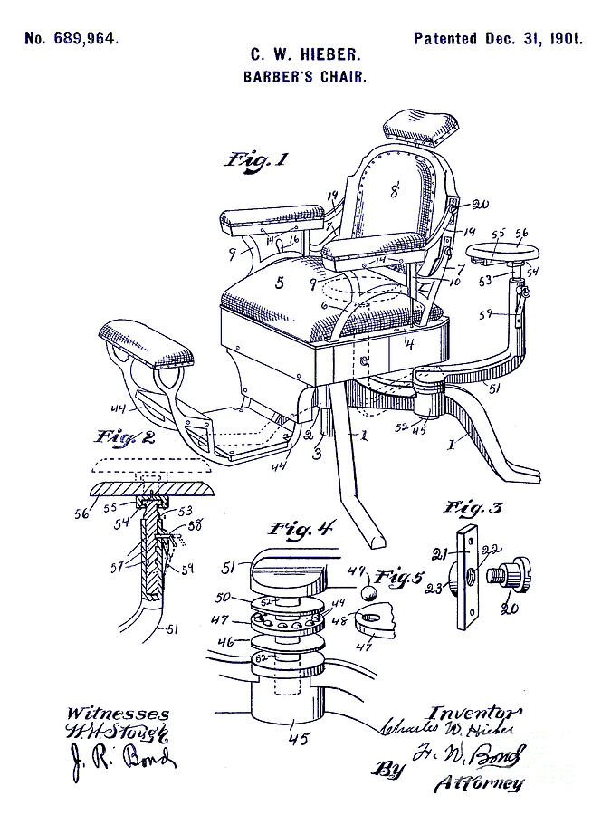 1901 barber chair patent blueprint drawing by jon neidert