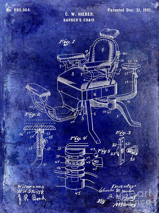 Drawing Photograph - 1901 Barber Chair Patent Drawing Blue by Jon Neidert