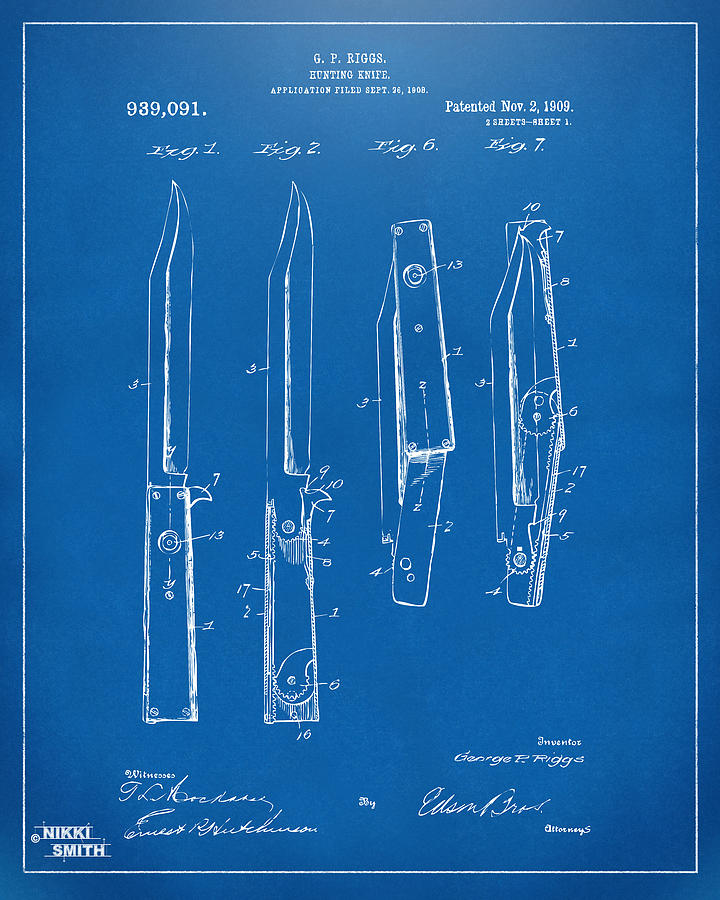 1901 hunting knife patent artwork blueprint digital art by nikki knife digital art 1901 hunting knife patent artwork blueprint by nikki marie smith malvernweather Image collections