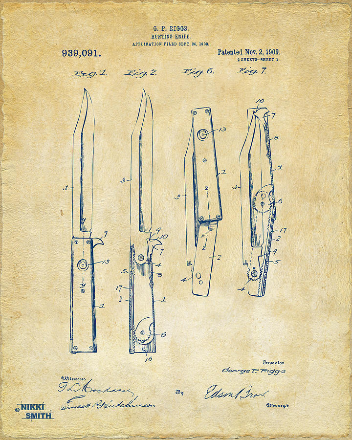 Knife Digital Art - 1901 Hunting Knife Patent Artwork - Vintage by Nikki Marie Smith