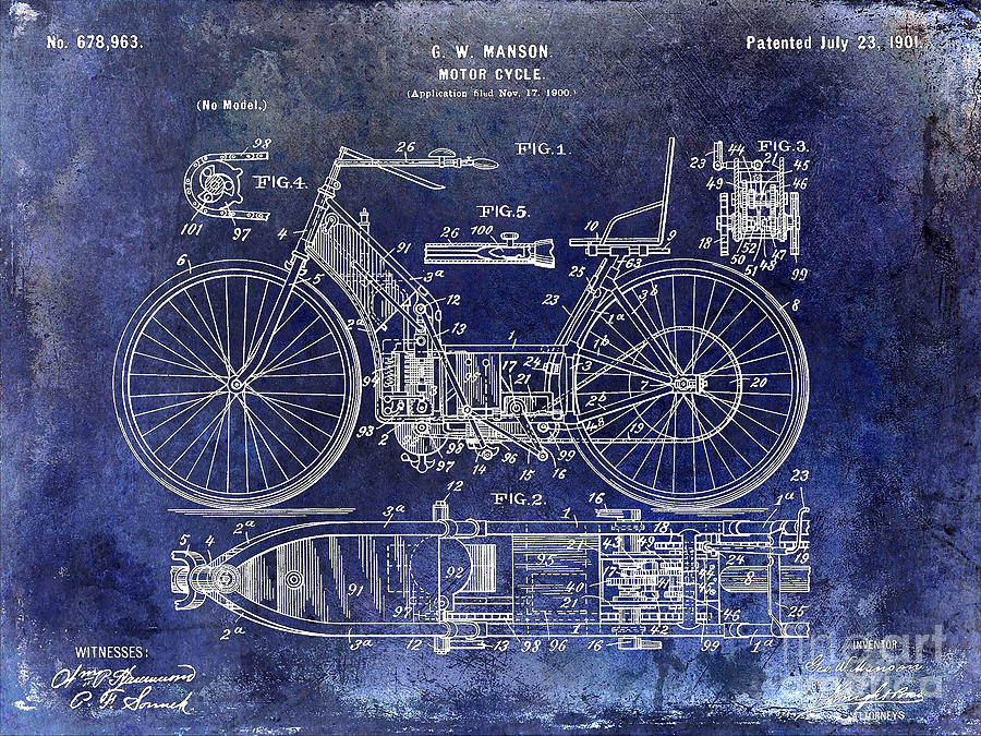 Motorcycle Patent Photograph - 1901 Motorcycle Patent Drawing Blue by Jon Neidert
