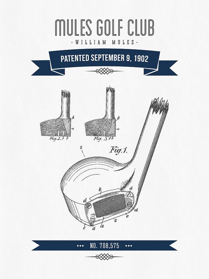 1902 Mules Golf Club Patent Drawing - Retro Navy Blue Digital Art