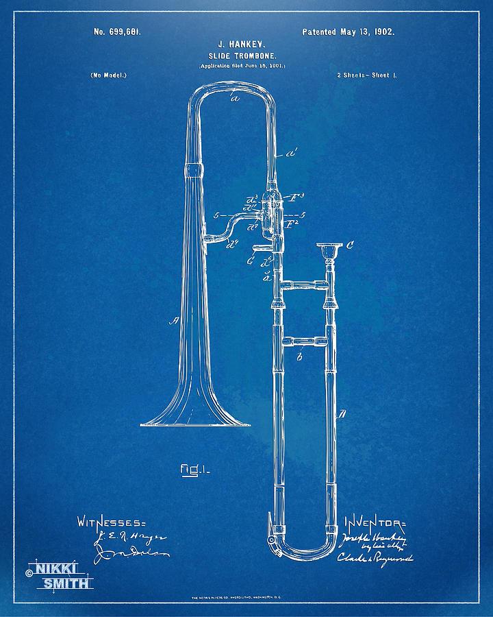 Trombone Drawing - 1902 Slide Trombone Patent Blueprint by Nikki Marie Smith