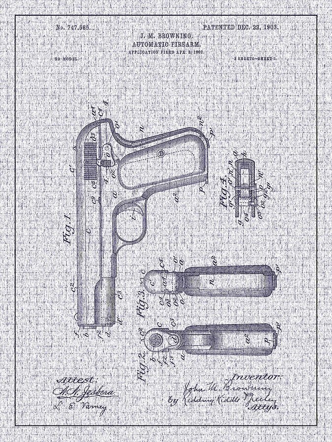 Fn Model 1903 Photograph - 1903 Browning Automatic Pistol Patent by Barry Jones