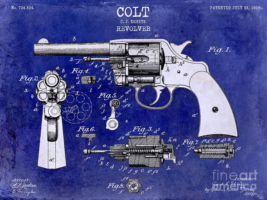 Colt Revolver Photograph - 1903 Colt Revolver Patent Drawing Blue 2 Tone by Jon Neidert