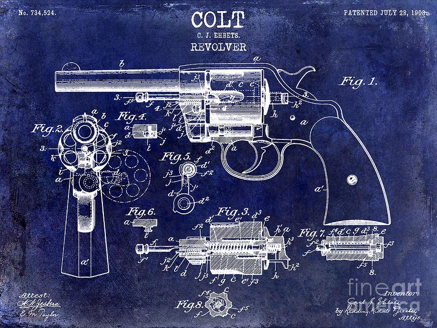 Colt Revolver Photograph - 1903 Colt Revolver Patent Drawing Blue by Jon Neidert