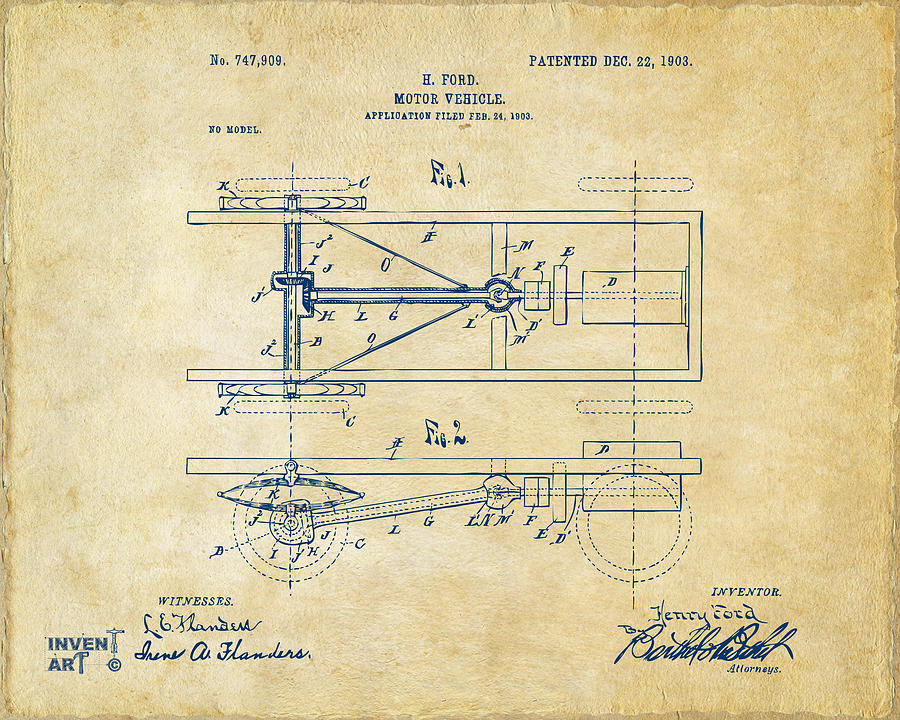 Henry Ford Digital Art - 1903 Henry Ford Model T Patent Vintage by Nikki Marie Smith