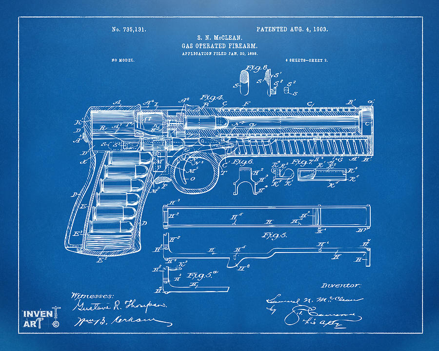 1903 mcclean pistol patent artwork blueprint digital art by gun digital art 1903 mcclean pistol patent artwork blueprint by nikki marie smith malvernweather Image collections