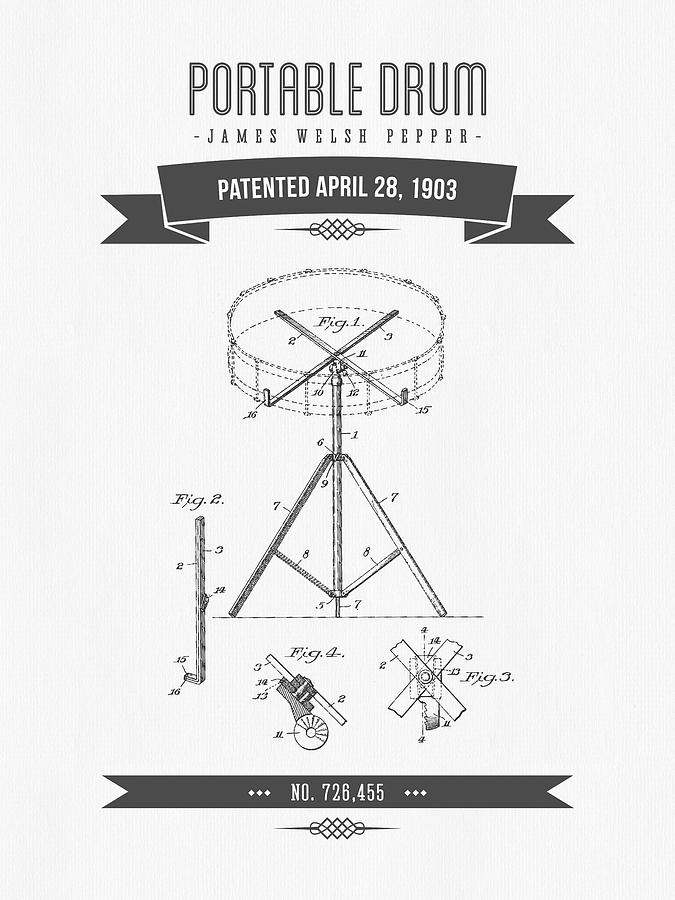 Drum Drawing - 1903 Portable Drum Patent Drawing by Aged Pixel