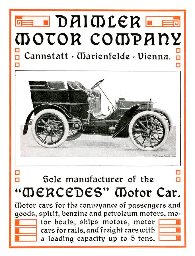 1904 Digital Art - 1904 - Daimler Motor Company Mercedes Advertisement - Color by John Madison