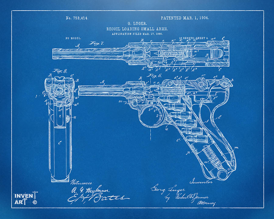 1904 Luger Recoil Loading Small Arms Patent - Blueprint by Nikki Marie Smith