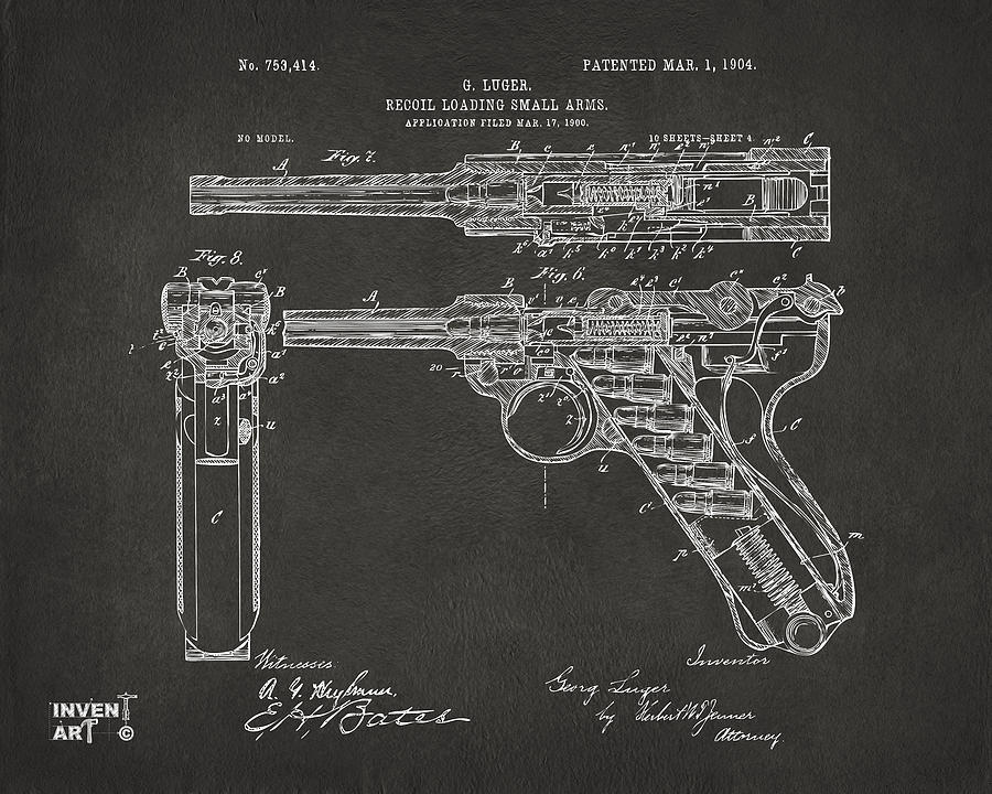 1904 Luger Recoil Loading Small Arms Patent - Gray by Nikki Marie Smith