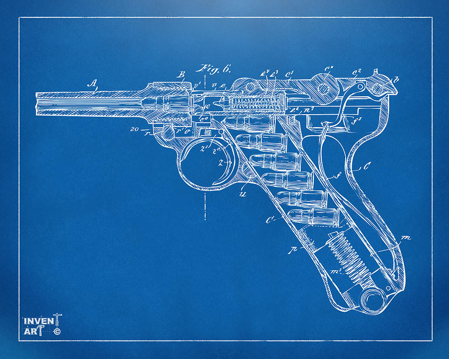 1904 luger recoil loading small arms patent minimal blueprint luger digital art 1904 luger recoil loading small arms patent minimal blueprint by nikki malvernweather Choice Image