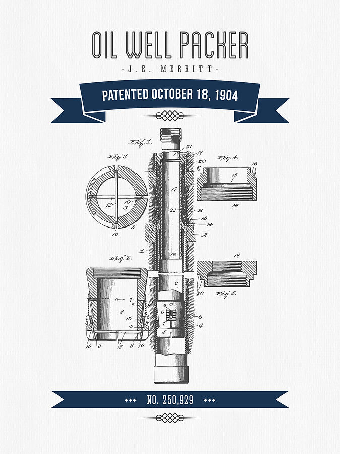 1904 Oil Well Packer Patent Drawing - Retro Navy Blue ...  1904 Oil Well P...