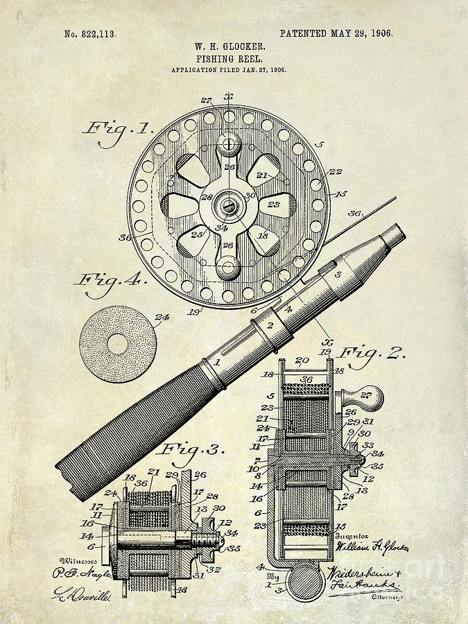 Fishing Basket Photograph - 1906 Fishing Reel Patent Drawing by Jon Neidert