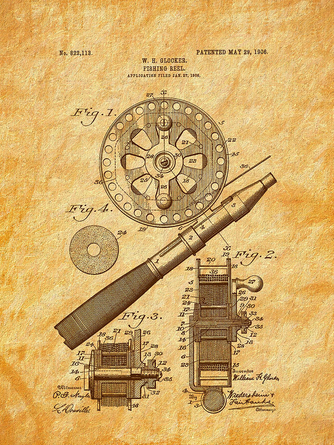 Fishing Reel Digital Art - 1906 Glocker Fishing Reel Patent by Barry Jones