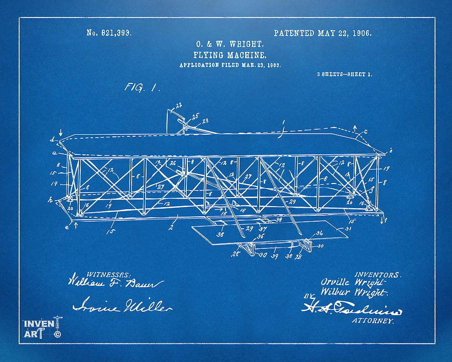 1906 wright brothers flying machine patent blueprint digital art wright brothers digital art 1906 wright brothers flying machine patent blueprint by nikki marie smith malvernweather Images