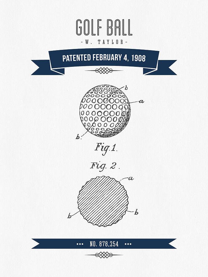 Golf Digital Art - 1908 Taylor Golf Ball Patent Drawing - Retro navy Blue by Aged Pixel