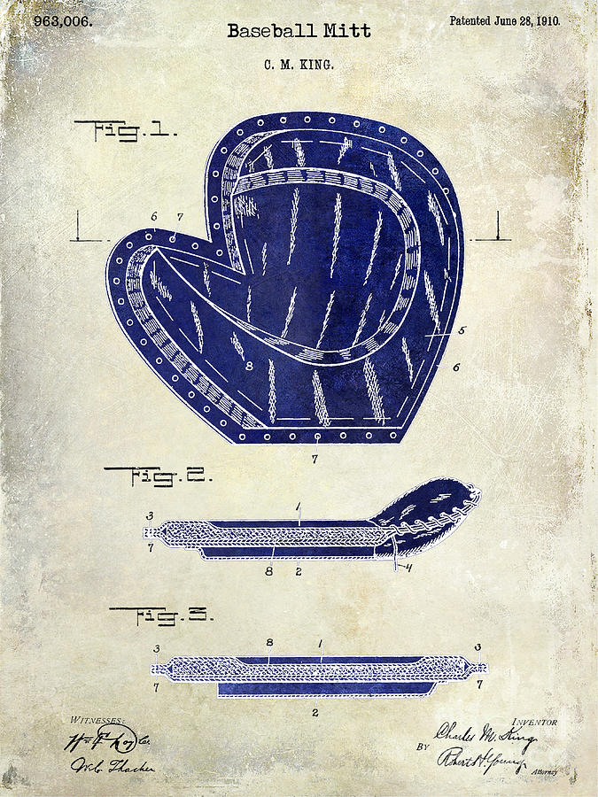 Baseball Bat Photograph - 1910 Baseball Patent Drawing 2 Tone by Jon Neidert