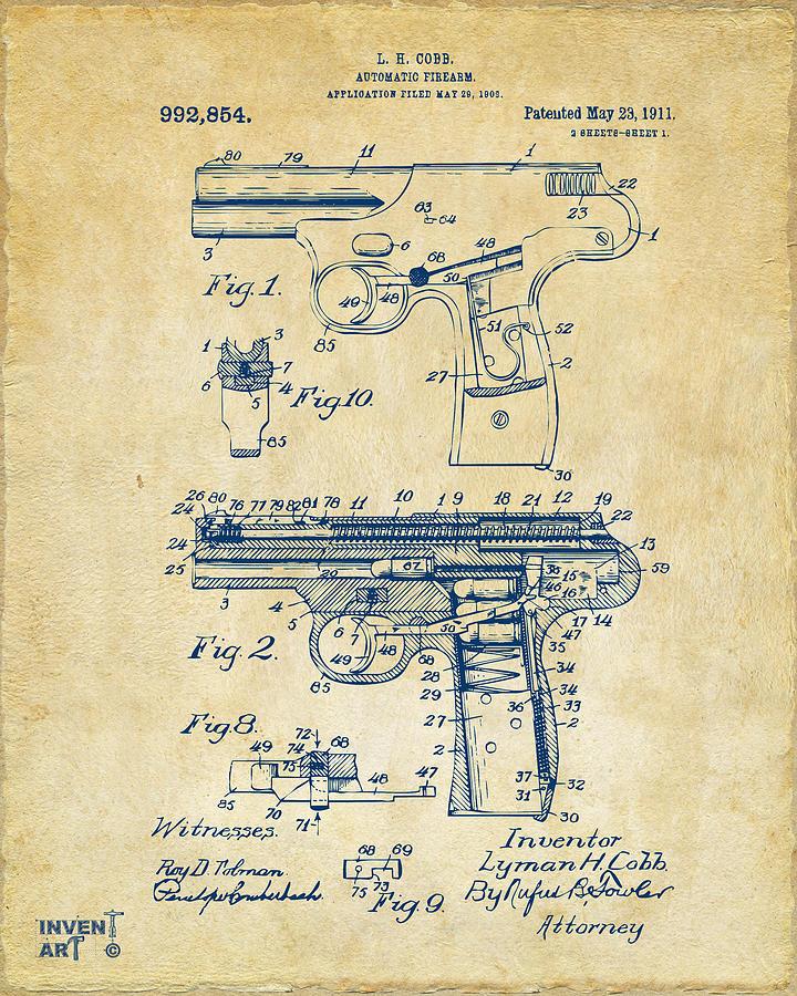 Police Gun Photograph - 1911 Automatic Firearm Patent Artwork - Vintage by Nikki Marie Smith