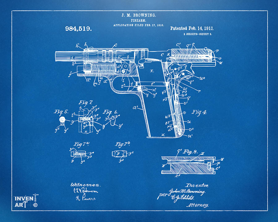 1911 colt 45 browning firearm patent 2 artwork blueprint digital colt 45 digital art 1911 colt 45 browning firearm patent 2 artwork blueprint by nikki malvernweather