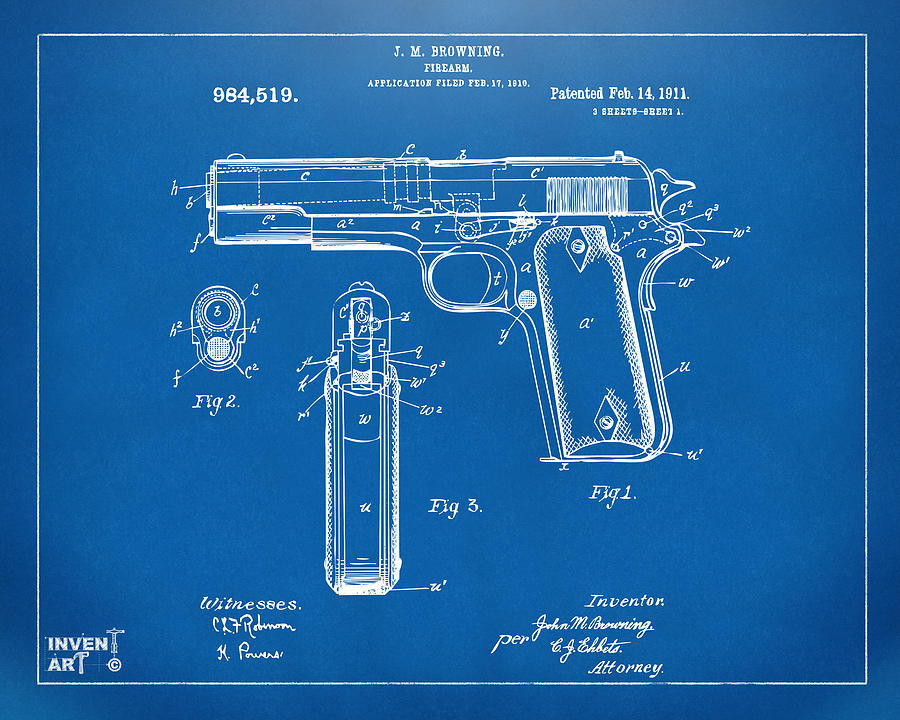 1911 colt 45 browning firearm patent artwork blueprint digital art colt 45 digital art 1911 colt 45 browning firearm patent artwork blueprint by nikki marie malvernweather