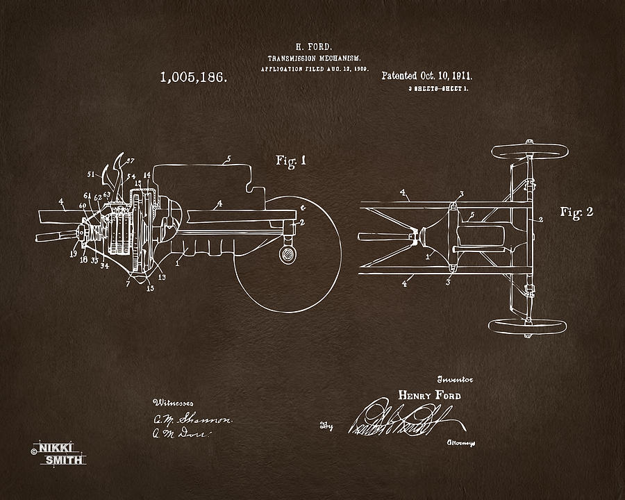 Henry Ford Digital Art - 1911 Henry Ford Transmission Patent Espresso by Nikki Marie Smith