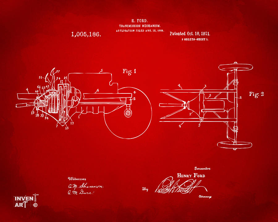 Henry Ford Digital Art - 1911 Henry Ford Transmission Patent Red by Nikki Marie Smith