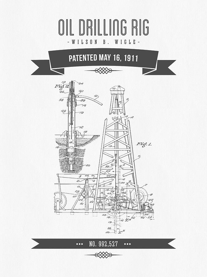 1911 Oil Drilling Rig Patent Drawing - Retro Gray by Aged Pixel