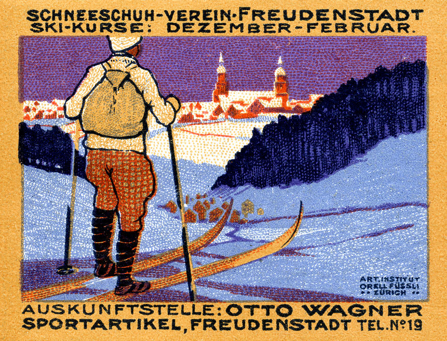 Historicimage Painting - 1911 Swiss Ski School Poster by Historic Image